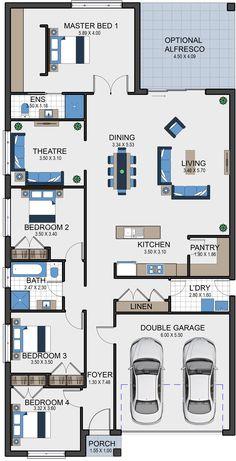 Yara 23 Vesta Homes – Beach house plans - Grundrisse House Layout Plans, New House Plans, Dream House Plans, Modern House Plans, House Layouts, Small House Plans, Dream Houses, Garage Floor Plans, Kitchen Floor Plans