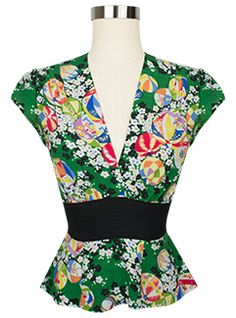 Pair the new Trashy Diva Anna Blouse in Green Kimono with a pencil skirt or for a flirty look pair it with the Gathered Skirt in any color! Clothing And Textile, Antique Clothing, 1950s Fashion, Vintage Fashion, Vintage Style, Women's Fashion, Pin Up Outfits, Cute Outfits, Green Kimono
