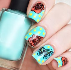 with the layered art, a more wonderful world is opened. nail art, nail stamping