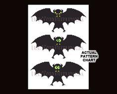 Halloween Bats Cross Stitch Halloween Cross by NewYorkNeedleworks