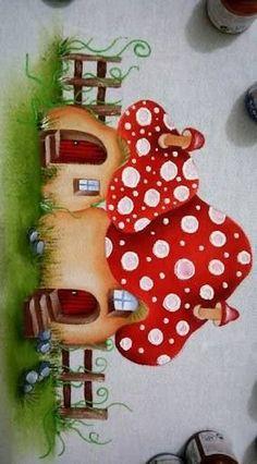 Resultado de imagem para cogumelos de tecido pinterest #pinturaentela
