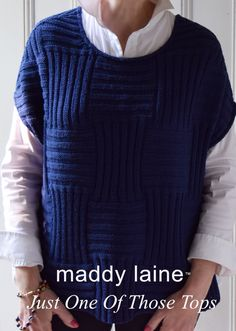 Just One Of Those Tops Knitting pattern by maddycraft Christmas Knitting Patterns, Arm Knitting, Sweater Knitting Patterns, Crochet Patterns, Knit Vest Pattern, Top Pattern, Simple Pattern, Tweed, Chevron