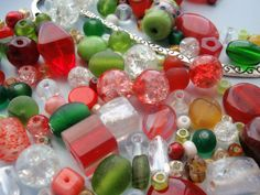 Beads in Christmas colours, my photo