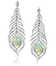 Cellini Jewelers Opal Feather Drop Earrings designed by Sutra Jewelers