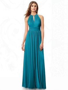 Dessy Collection Bridesmaids Style 6696 Full length maracaine jersey dress w/ shirred halter and inset midriff. Slit at center front skirt.