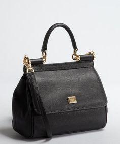 Dolce Gabbana black textured leather chain shoulder bag style #325567601