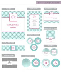 Build your very own preppy Monogram Birthday Party Decor Kit! Get exactly what you need from our unique line of handcrafted, fully assembled party decorations! Preppy Monogram, Monogram Initials, Birthday Party Decorations, Party Themes, Birthday Parties, Moroccan Party, Quatrefoil, Coloring Sheets, Favor Tags