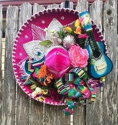 "Fiesta Sombrero Wreath - Fiesta Wreath - Cinco de Mayo Wreath - Sombrero Wreath - Mariachi Hat Wreath ...handmade by ""She's Crafty by Clara Home Decor"""