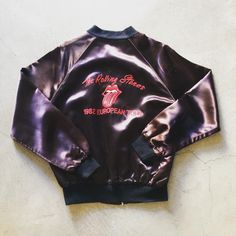 """Vintage #rollingstones 1982 European Tour satin jacket, size large/XL measures 25"""" pit to pit and 25"""" neck to hem $175+$16 shipping. Call 415-796-2398 or PayPal afterlifeboutique@gmail.com and reference item in post."""