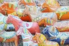 Antique dala horses stampede.