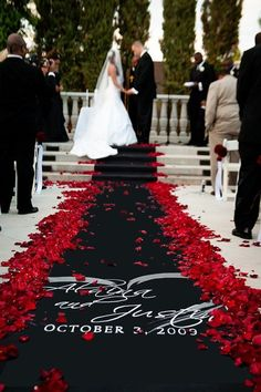 Black Wedding Aisle Runner Red Rose Petals perfect for a dramatic fall or halloween wedding. Black Red Wedding, Red And White Weddings, Black People Weddings, Black Wedding Decor, Red Rose Wedding, Yellow Wedding, Perfect Wedding, Dream Wedding, Wedding Day