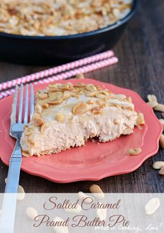 Salted Caramel Peanut Butter Pie.  A delicious peanut butter pie that is combined with the taste of salted caramel.  It is topped with salted peanuts and drizzled with caramel #peanutbutter #pie #caramel