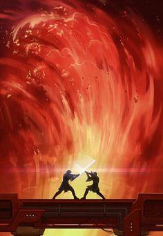 Star Wars Episode Revenge of the Sith. Obi-wan Kenobi and An akin / Darth Vader Star Wars Episode Revenge of the Sith. Obi-wan Kenobi and An akin / Darth Vader Star Wars Fan Art, Star Wars Film, Star Wars Poster, Star Wars Rebels, Star Trek, Anakin Vs Obi Wan, Anakin Vader, Darth Vader, Anakin Skywalker