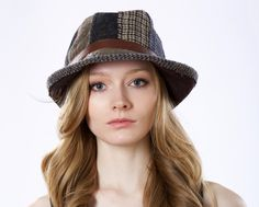 Wool Patchwork Fedora Hat Fall Fashion Winter Hat by KatarinaHats Materials: wool fabric, faux leather, metal buckle, denim fabric, ribbon
