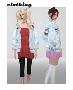 Vintage Denim Jacket Dress Recolor at ShojoAngel via Sims 4 Updates