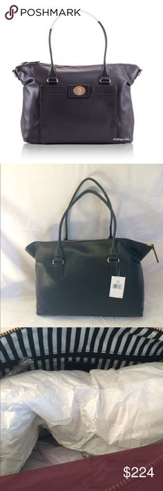 Kate Spade Hampton Road Large Black Tote Classic styling! This bag will be your go-to for years to come. The leather bag has a zip top closure with a double handle that drops 9 inches. There is a convenient front pocket with a lock closure. The signature black and white striped interior has 2 drop pockets and a zip pocket. The hardware is 14 carat gold plated. The bottom has flat protective feet. The bag is 15.5 X 12.9 x 6. kate spade Bags Totes
