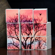 Sunrise Wood Puzzle Blocks Set of Nine Pink by PotpourriPenny