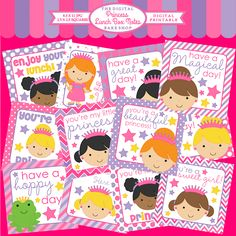 Princess Lunch Box Notes Printable - let your sweet girl know you are thinking about her with these adorable princess notes!