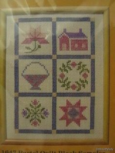 Vtg 1985 Sealed Cross Stitch Kit Pastel Quilt Block Sampler Creative Circle 1647 #SunsetStitchery #Sampler