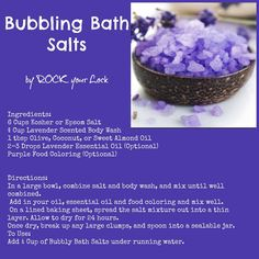 These bubbling bath salts are perfect for a relaxing bath or even the foot spa!