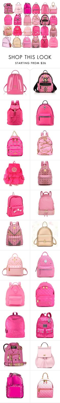 """Pink BackPacks"" by sofi6277 ❤ liked on Polyvore featuring Furla, MCM, Prada, Moschino, Juicy Couture, Betsey Johnson, MICHAEL Michael Kors, BeiBaoBao, Chicnova Fashion and Versace"