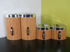 Kromex mid century wood grain and chrome kitchen by skipperjack, $59.00