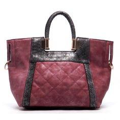 Purse-tensity: Magenta Purple Mauve Rose Snake Skin Embroidered Diamond Detail Leatherette Satchel Fashion Handbag Purse