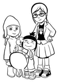 coloring page Despicable me gru agnes edith margo Coloring