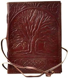 "Inscribed into the hand-tooled surface of this leather blank book is the Sacred Oak Tree, celebrating nature and the path it offers to other worlds of discovery and mysticism. 240 onlined pages. 5"" x"