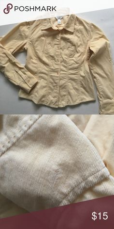 """Talbots Corduroy Button Down Shirt Soft and fine corduroy shirt. Stretchy fabric. 18"""" bust. 21"""" long. A light spot on left shoulder but hardly noticeable. Talbots Tops Button Down Shirts"""