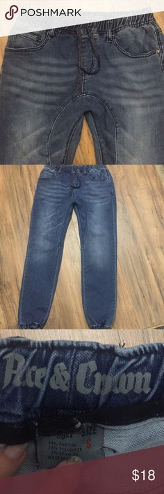 Men's Ace & Crown denim joggers Sz S Men's Ace & Crown denim joggers Sz S. EUC no rips stains or defects. Check out my closet for other items and bundle for extra savings!! Ace & Crown Pants Sweatpants & Joggers