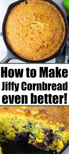 How to make Jiffy cornbread in cast iron skillet AND how to make boxed way better with a few added ingredients folded in. Iron Skillet Recipes, Skillet Meals, Southern Cornbread Salad, Blueberry Cornbread, Jiffy Cornbread Recipes, Easy Recipes, Easy Meals, Veggie Muffins, Camping Dishes