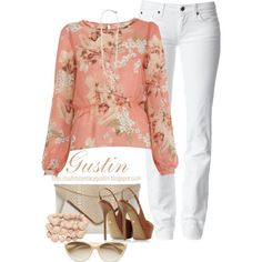 coral floral top, created by stacy-gustin on Polyvore