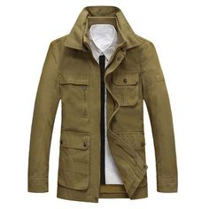 Winter Outdoor Casual Cotton Multi-Pocket Double Collar Coldproof Jacket  For Men - Gchoic.com