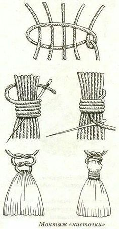 Macrame - Knot weaving: Weaving lessons for macrame, embedding the thread ends after weaving Macrame Knots, Micro Macrame, Diy Tassel, Tassels, Tassel Jewelry, Yarn Crafts, Diy And Crafts, Macrame Projects, Macrame Tutorial