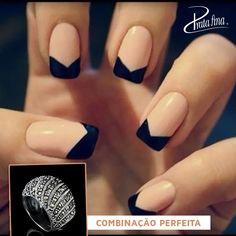 Combinação perfeita de nail art nude e preto com Anel Marcassita da Prata Fina.