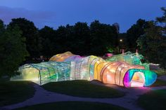 Spanish architecture studio SelgasCano's colourful Serpentine Pavilion in London's Kensington Gardens is to open this week. It is the fifteenth incarnation of the pavilion commission, with different architects creating a . Frank Gehry, Architecture Design, Contemporary Architecture, Spanish Architecture, Pavilion Architecture, Contemporary Art, London Architecture, Architecture Wallpaper, Zaha Hadid