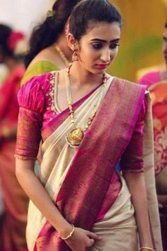 Top Latest and Trendy Blouse Designs For Saree Want to get that stylish look in Saree. Take a look at these stunning and trending blouse designs photos for ultimate style. Wedding Saree Blouse Designs, Pattu Saree Blouse Designs, Fancy Blouse Designs, Blouse For Silk Saree, Saree Blouse Patterns, Latest Saree Blouse Designs, Traditional Blouse Designs, Blouse Styles, Blouse Designs Embroidery