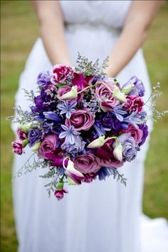 Portentous Useful Tips: Wedding Flowers Plum Lilacs wedding flowers bouquet lillies. Summer Wedding Bouquets, Purple Wedding Flowers, Rustic Wedding Flowers, Flower Bouquet Wedding, Bridesmaid Bouquet, Wedding Colors, Blue Flowers, Gold Bouquet, Floral Bouquets