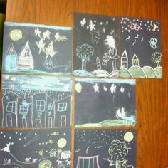 The cat at night - Dahlov Ipcar: we decided to draw pictures pretending we were cats and what we would see at night! Very easy and carefree craft. Kids had a blast and enjoyed drawing with chalk on black paper! This book is a must need for classrooms/storytime :)