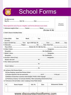 Sample Of Admission Form School Admission Form Free