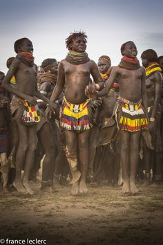 Africa | Nyangatom girls dancing. Omo Valley, Ethiopia | ©France Leclerc