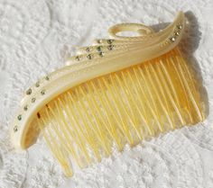 Vintage Hair Comb Cream Celluloid Clear by AVintageJewelryChest