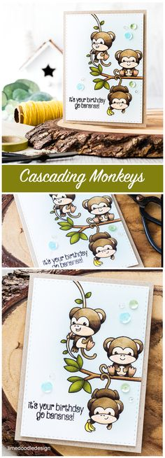 Cute cascading monkeys birthday card    Find out more by clicking on the following link: http://limedoodledesign.com/2016/04/cascading-monkeys/
