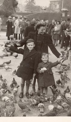 Trafalgar Square in 1948. They'd never let you do this now.  I have a photo of my sister and I doing just this sometime in the early 1950s.