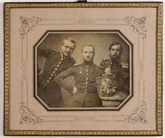 Drei Holsteinische Offiziere mit dem Wappen von Schleswig-Holstein. Kiel, 1848