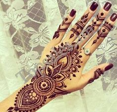 black, hand, henna, nails, ring, tattoo