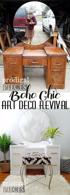Oh my! This sad looking Art Deco vanity got a new lease on life with TLC by Larissa of Prodigal Pieces. Boho Chic is the new style and looks oh so good. DIY details at Prodigal Pieces | prodigalpieces.com #prodigalpieces #furniture #boho #artdeco #bedroom