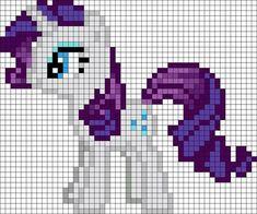 Rarity My Little Pony Perler Bead / Crochet Pixel Blanket Pattern / Bead Sprite Pearler Bead Patterns, Perler Patterns, Kandi Patterns, Perler Bead Art, Perler Beads, Beaded Cross Stitch, Cross Stitch Patterns, Rarity My Little Pony, Modele Pixel Art