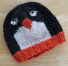 Free Knitting Pattern for Penguin Pal Hat - Beanie style hat designed by Lucie Sinkler Pictured project by carriebee